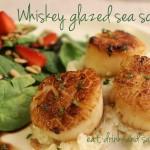 Whiskey glazed sea scallops