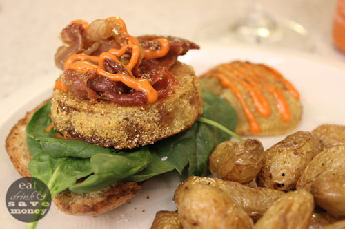 fried green tomato blt with spinach