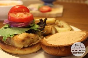 fried grouper sandwich open