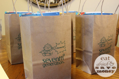 Heathy baby home party gift bags from seventh generation