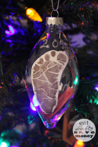 First Christmas ornament with footprint