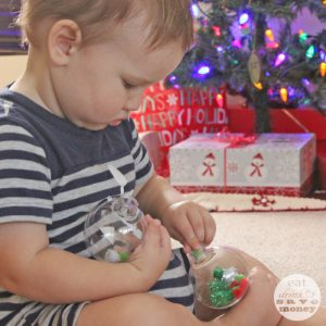 Toddler sensory craft ornament making