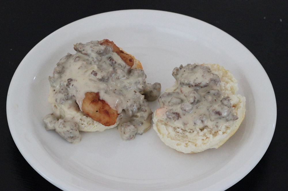 southern-fried-chicken-biscuit-with-sausage-gravy-recipe-from-hominy-grill-in-charleston-south-carolina