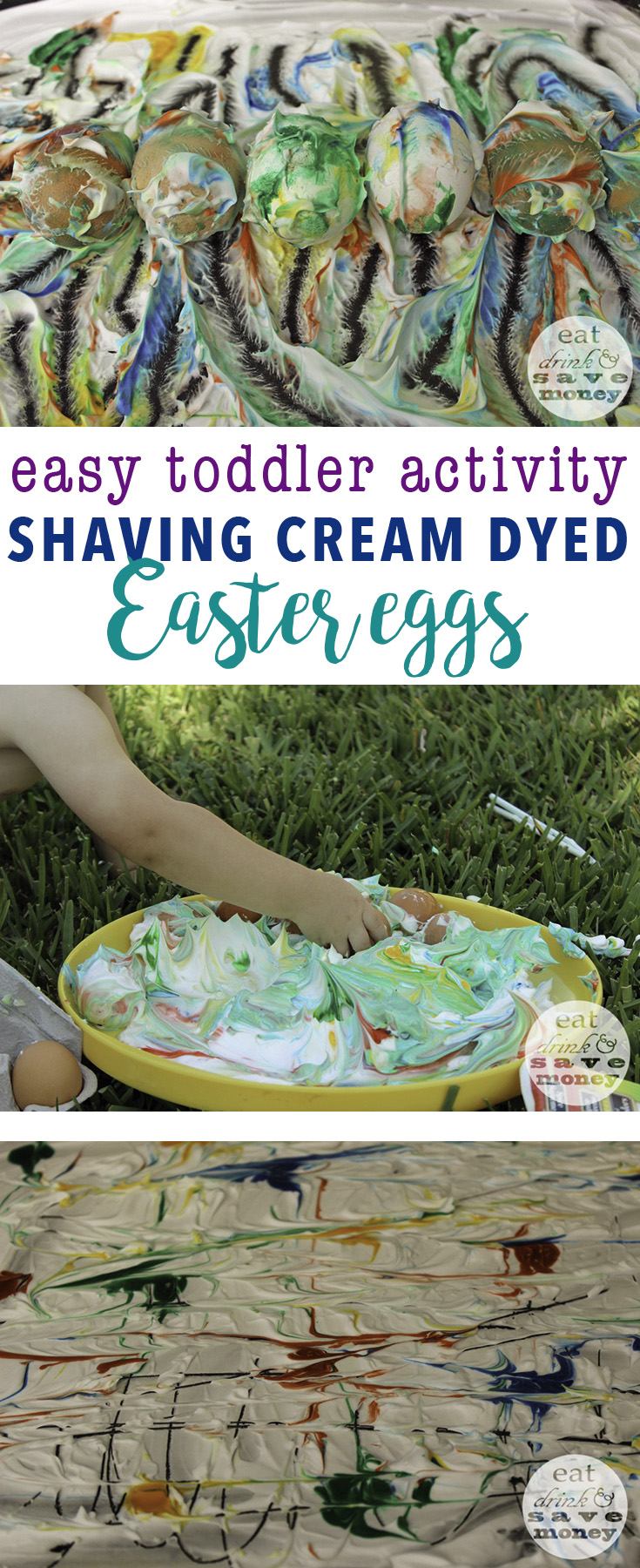 Easy toddler activity- shaving cream dyed Easter eggs are super fun and easy to do with kids and babies
