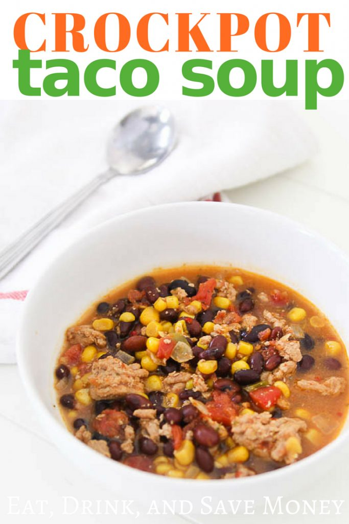 Easy weeknight dinner recipe for crockpot taco soup. This crockpot taco soup recipe is delicious. A great family meal. #tacosoup #soup #crockpot