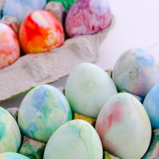 Shaving cream dyed Easter Eggs are so easy
