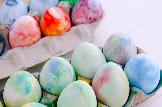 Shaving cream dyed Easter Eggs are so easy