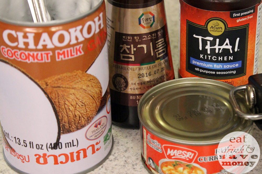 Simple ingredients for a red Thai curry recipe