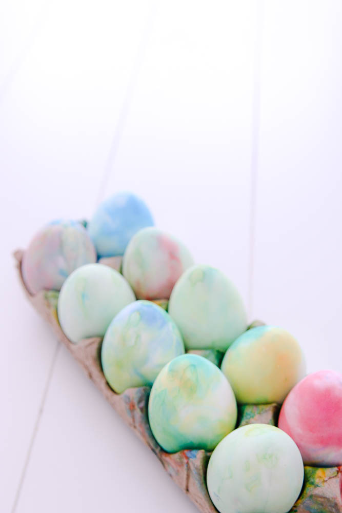 watercolor easter eggs with shaving cream