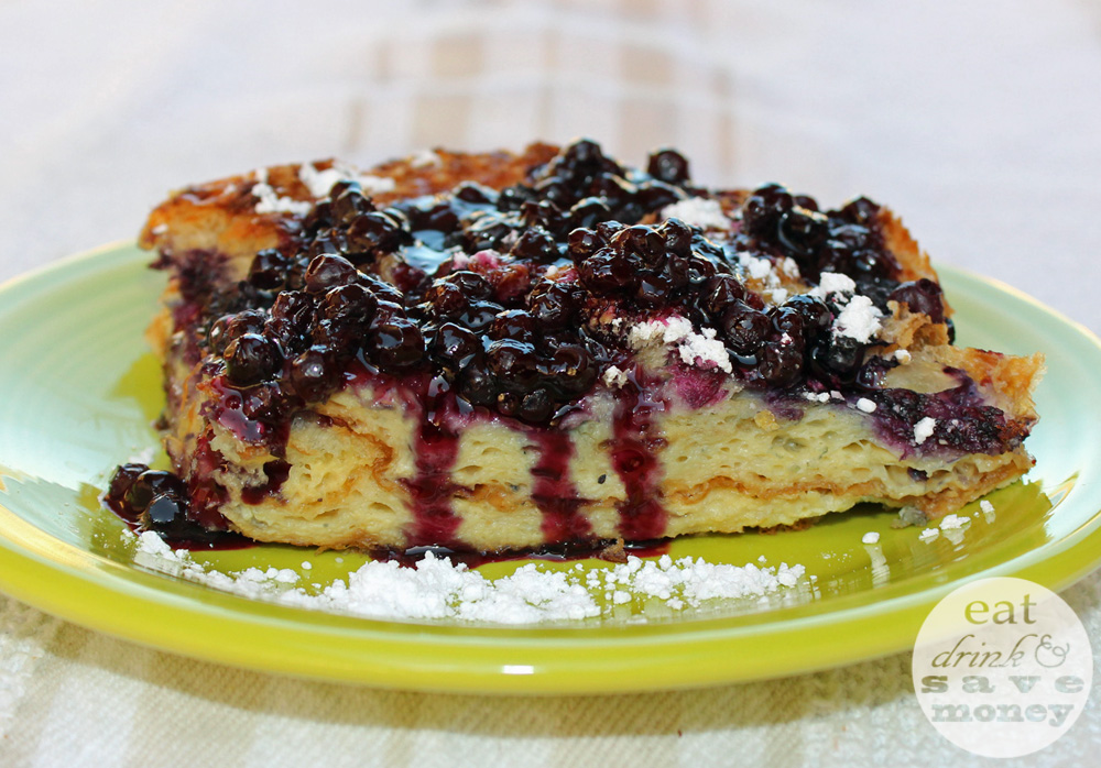 Baked blueberry crossaint french toast is delicious