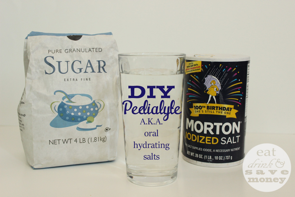 DIY pedialyte, or oral hydrating salts, can help with dehydration when sick