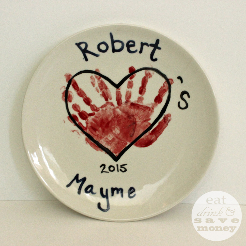 Make a cute hand print plate for Mother's day at a paint your own pottery shop.