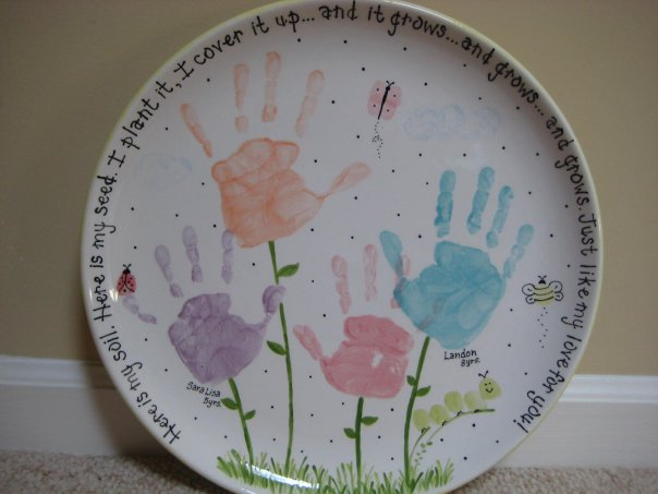 Paint your own pottery for Mother's Day handprint and flowers