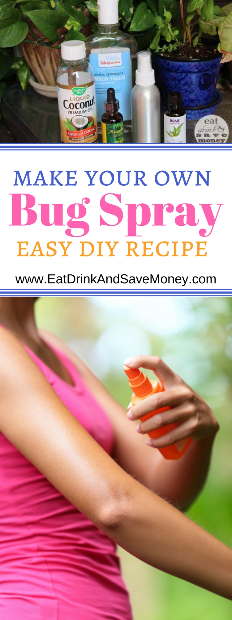 How to make your own bug spray. DIY bug spray recipe. Non-toxic bug spray recipe. Insect repellent. Things you need for the summer.