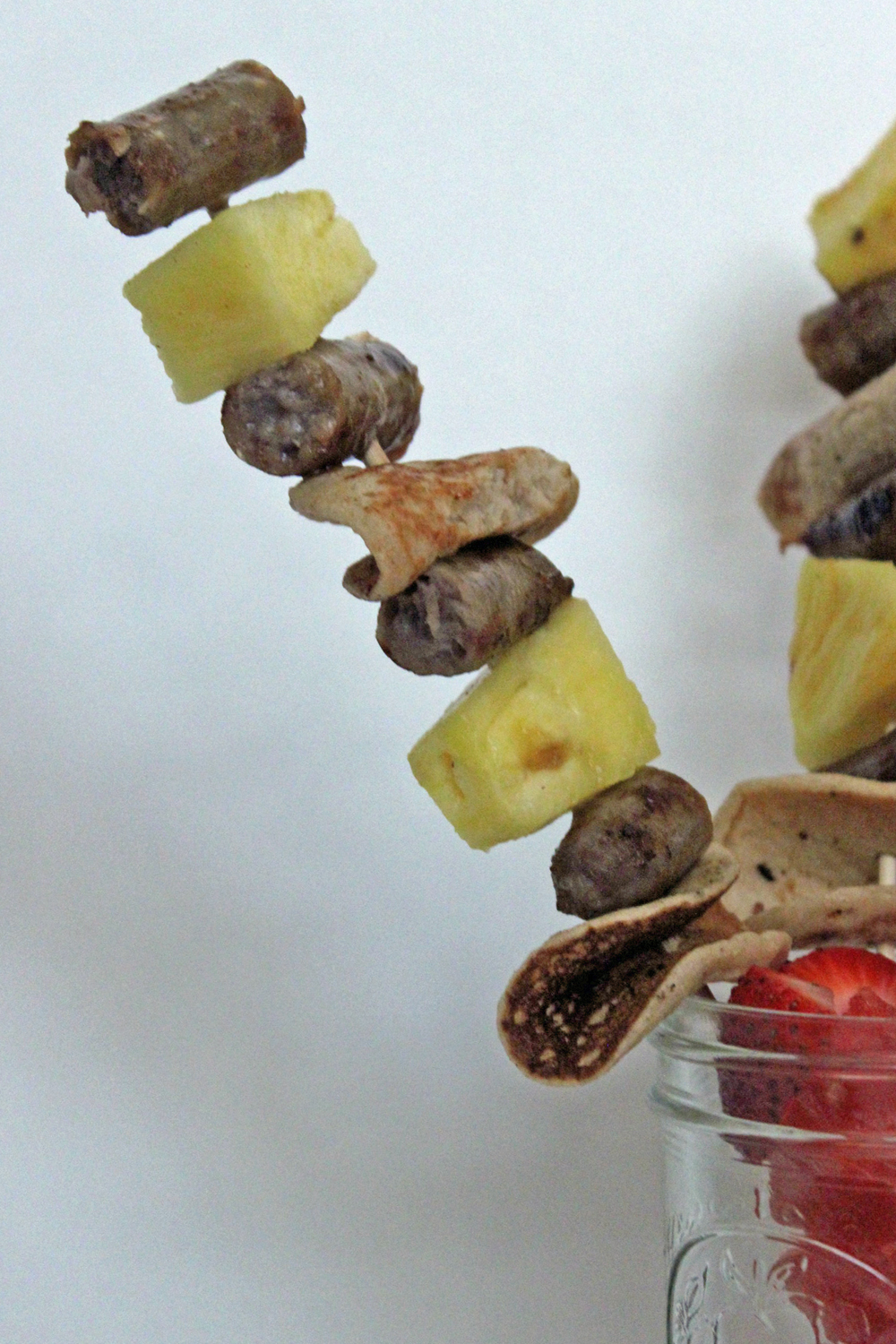 Make breakfast special with these back to school breakfast kabobs that have mini pancakes, sausage and pineapple