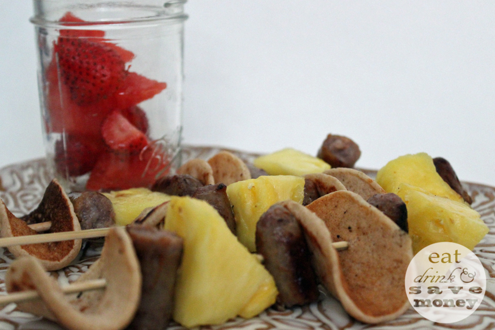 Mini pancakes, sausages and pineapple make up this delicious back to school breakfast kabob