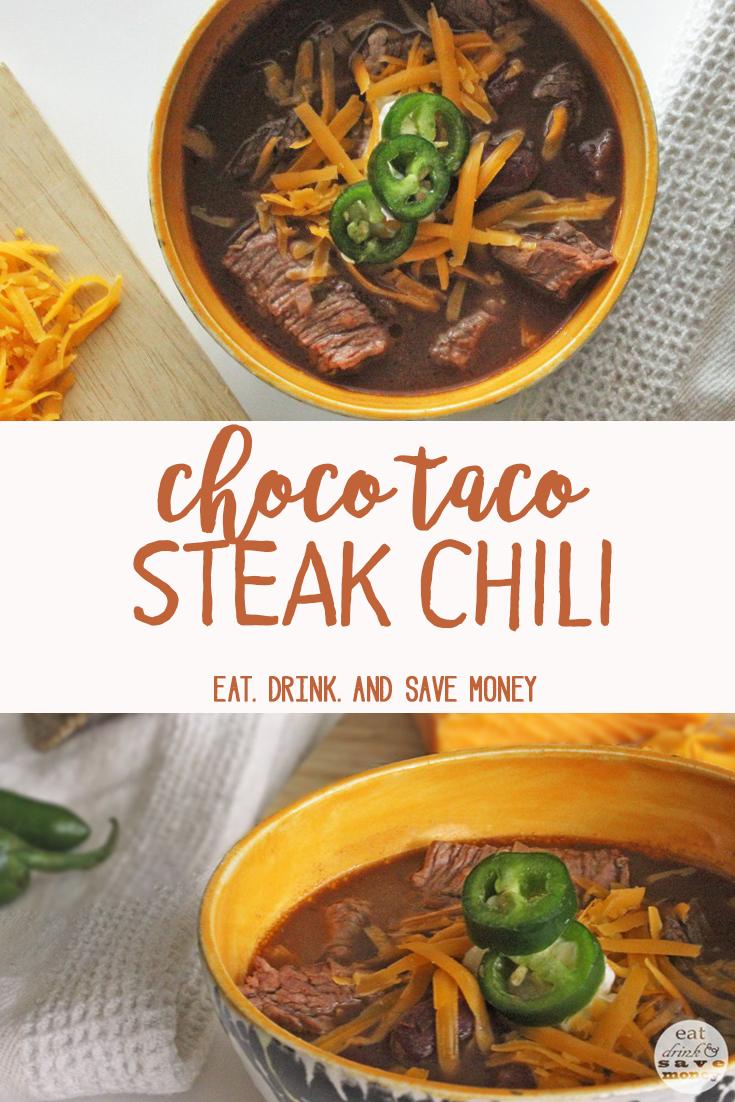 Choco taco steak chili recipe to keep you warm in the fall.