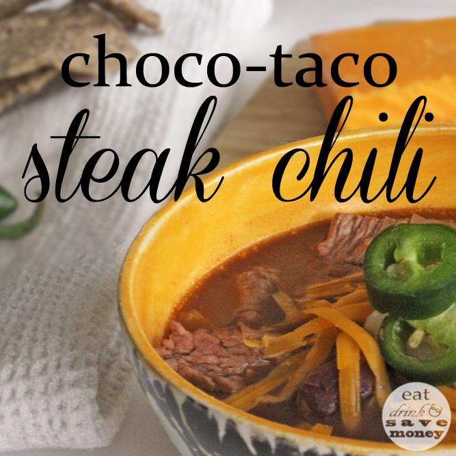 Chocolate taco steak chili is delicious