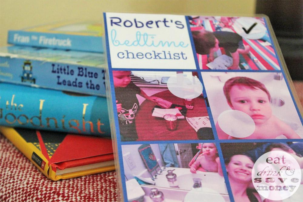 Make a photo checklist ot make toddler bedtime easier
