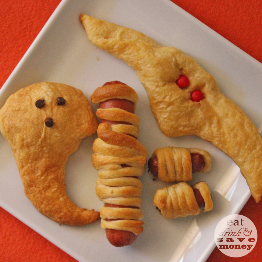 Halloween themed crescent roll snacks - Eat, Drink, and Save Money
