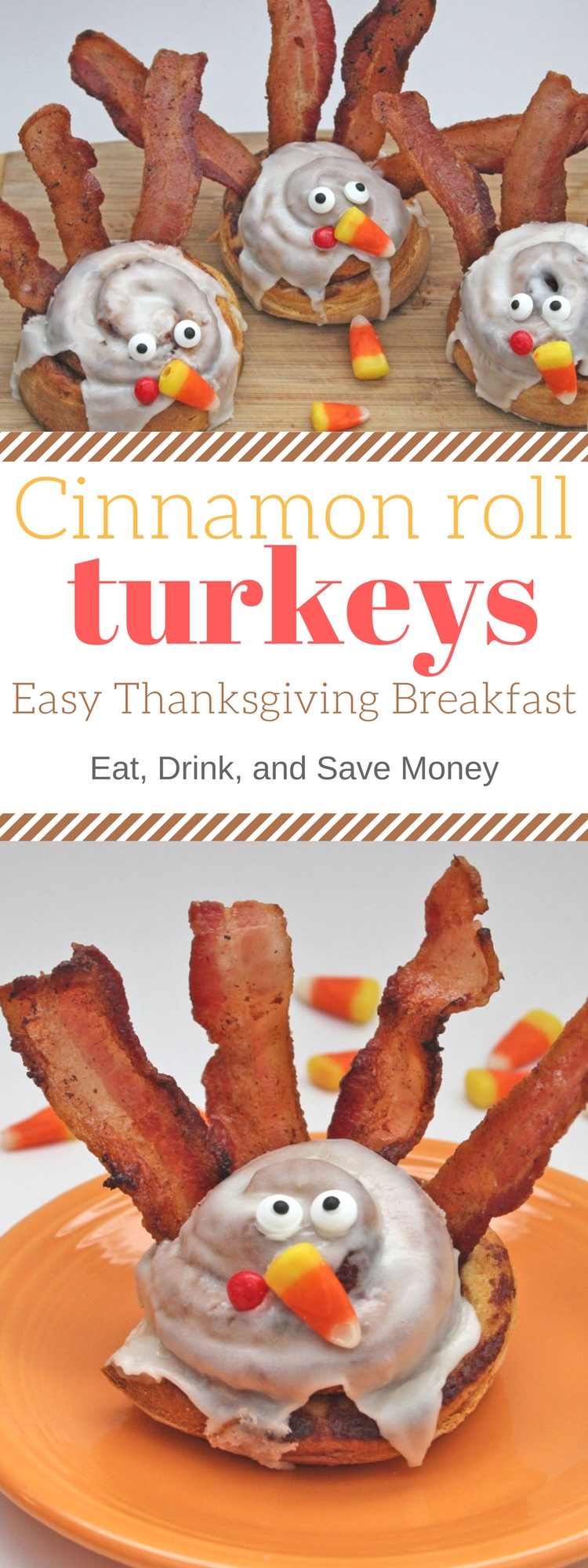 Check out this easy Thanksgiving breakfast. Create a new kid friendly Thanksgiving traditions with these cinnamon roll turkeys.