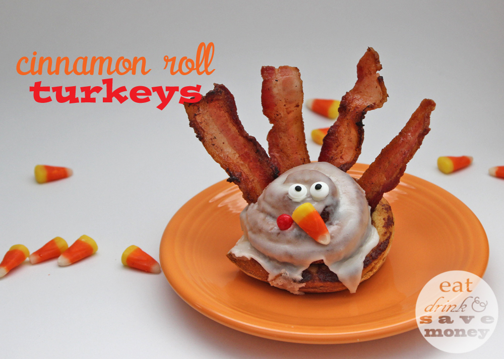 Cinnamon roll turkeys for celebrating Thanksgiving with kids