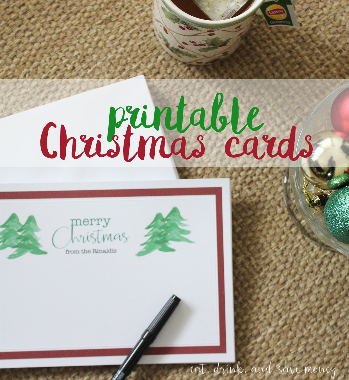 Merry Christmas printable PDF for Christmas cards. Easy way to print out holiday cards