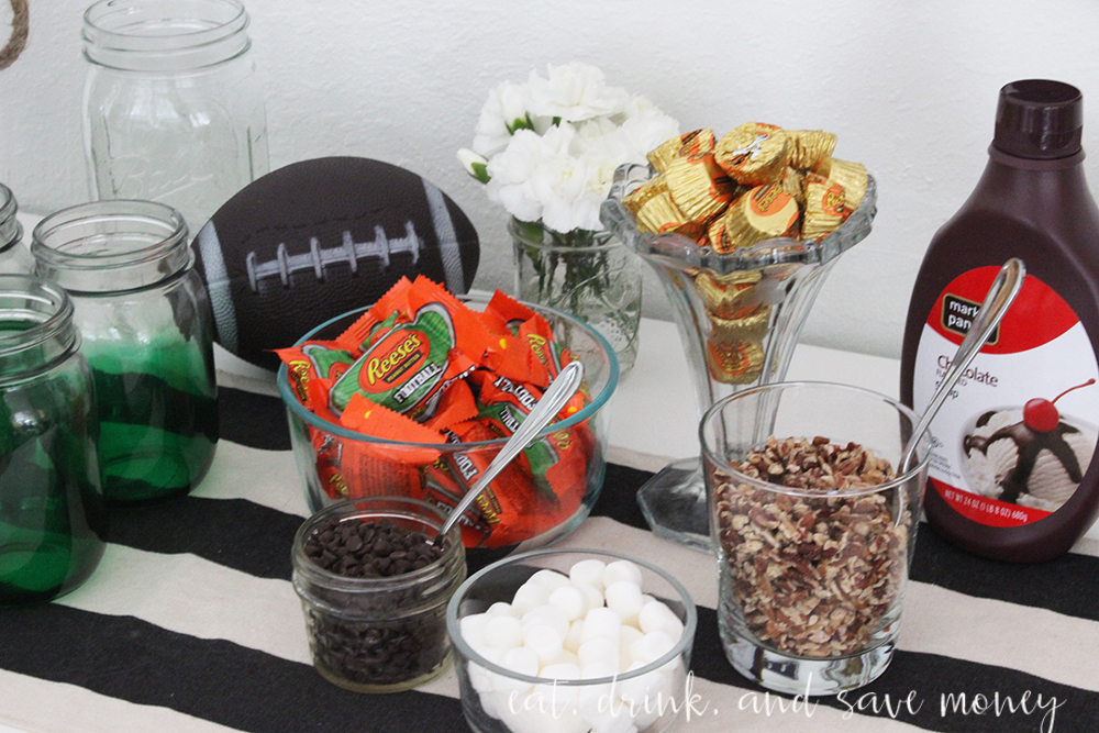 Ice cream bar for the big game. Celebrate the big game on a little budget. You don't have to spend a lot of money to throw a fabulous home bowl party. Check out the recipe for Coca-Cola ribs, and find out how to put together a stellar ice cream bar with REESE's products. #HomeBowlParty #CollectiveBias sponsored   www.eatdrinkandsavemoney.com