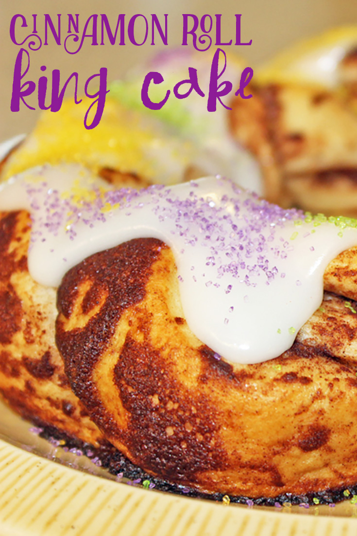 cinnamon roll king cake for mardi gras