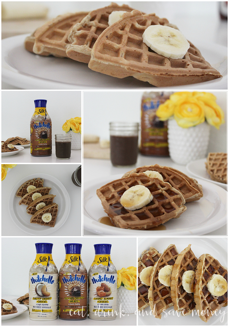 Banana nut waffles pair perfectly with the NEW Silk Nutchello Rich Dark Chocolate and Walnuts drink. #HelloNutchello #CollectiveBias sponsored content