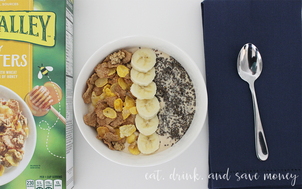 Nature valley cereal in peanut butter banana smoothie bowl