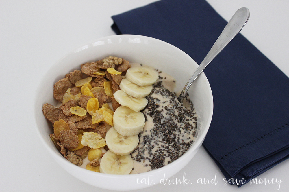 Snack time made easy with peanut butter and banana smoothie bowls