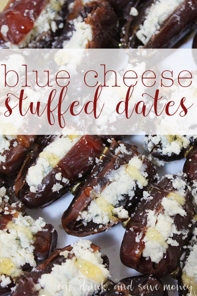 blue cheese stuffed dates with honey drizzled on top are so easy to make. Impress guests with this simple and delicious recipe for stuffed dates. www.eatdrinkandsavemoney.com