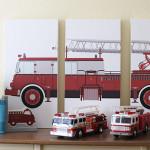 DIY Firetruck Triptych Artwork