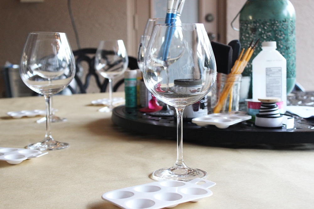 Craft redux diy painted wine glasses eat drink and for Painting while drinking wine