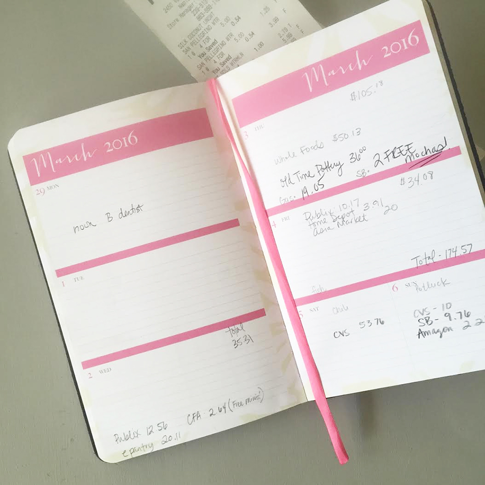 keep track of spending with a money diary eat drink and save money