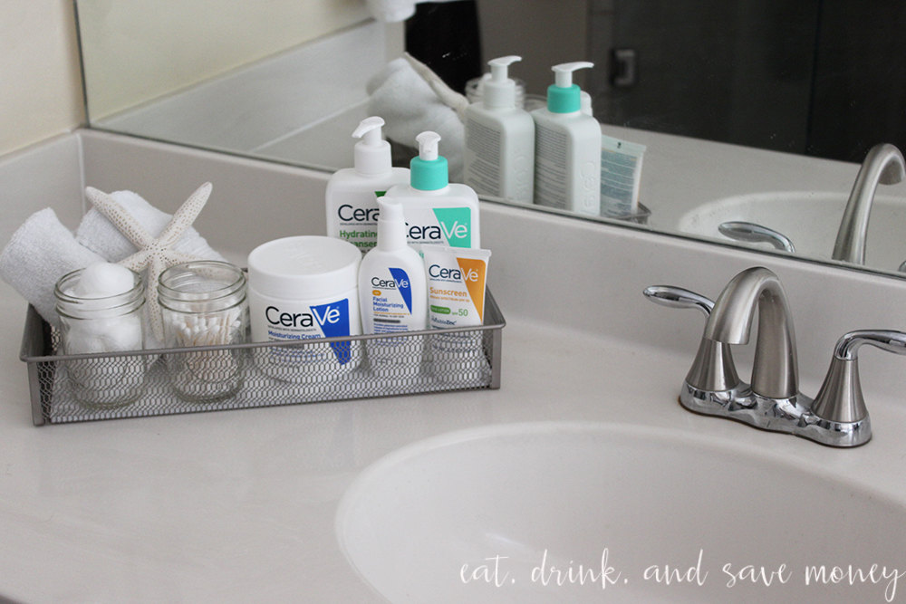 DIY faux marble vanity tray tutorial and tips for relaxing night time skin care