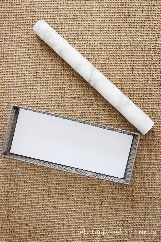 Step two of bathroom vanity tray tutorial
