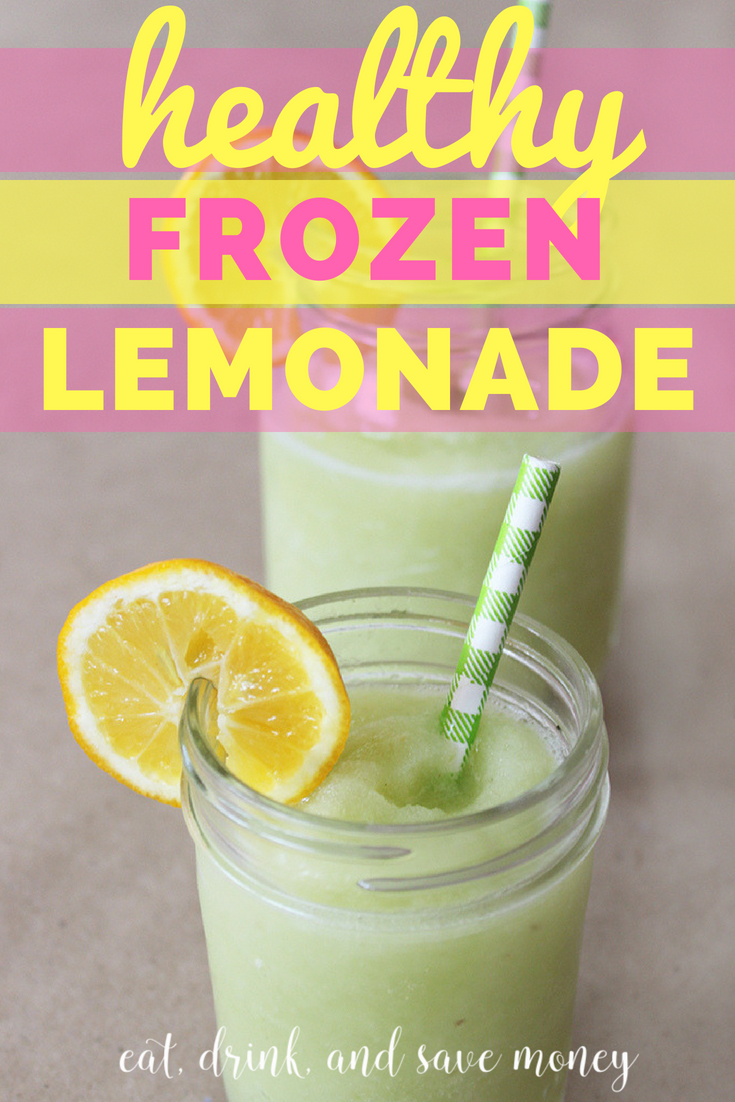 healthy frozen lemonade recipe that it an easy sugar free lemonade recipe. It's a great summer treat and almost as good as chick fil a frozen lemonade. #lemonade #frozenlemonade #summertreat #smoothie #healthyliving #healthytreat