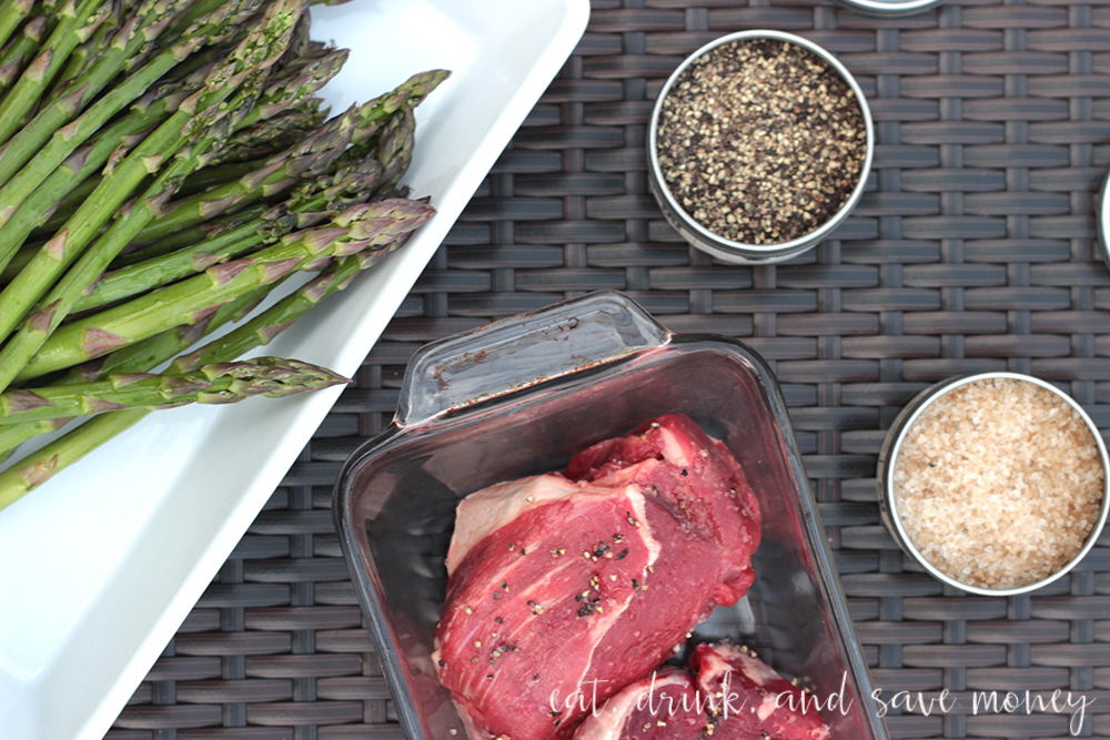 Steaks with bourbon salt and pepper
