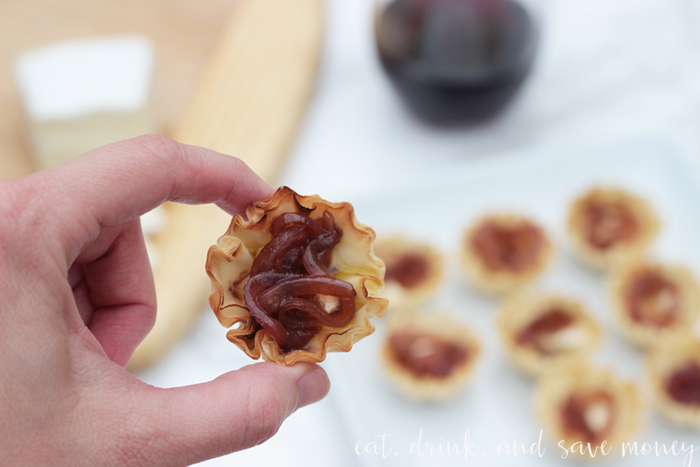 Caramelized onion and brie phyllo cups