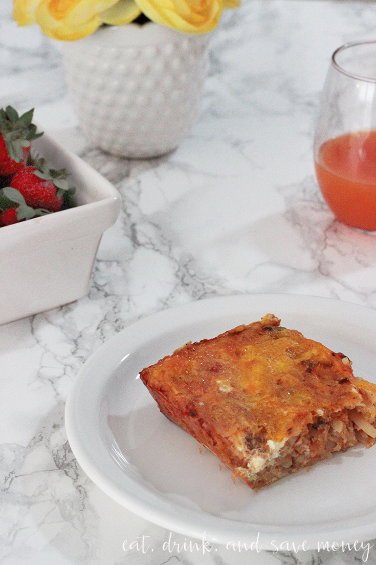 Cheesy chorizo and hash brown breakfast casserole