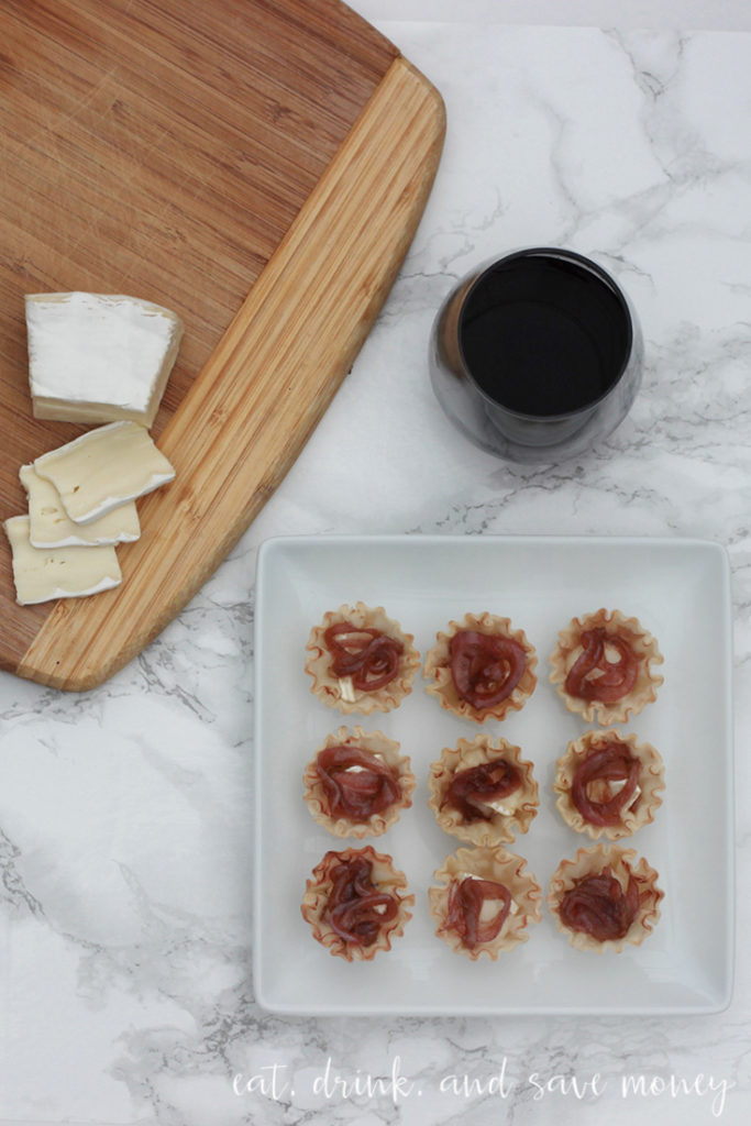 super easy recipe for caramelized onion and brie tartlets in phyllo dough