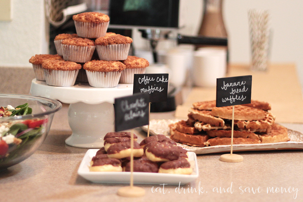 Baby shower spread with coffee cake muffins