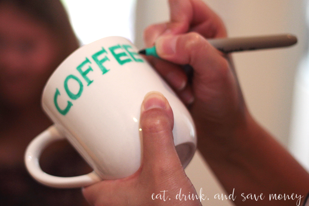 decorate a coffee mug for a baby shower