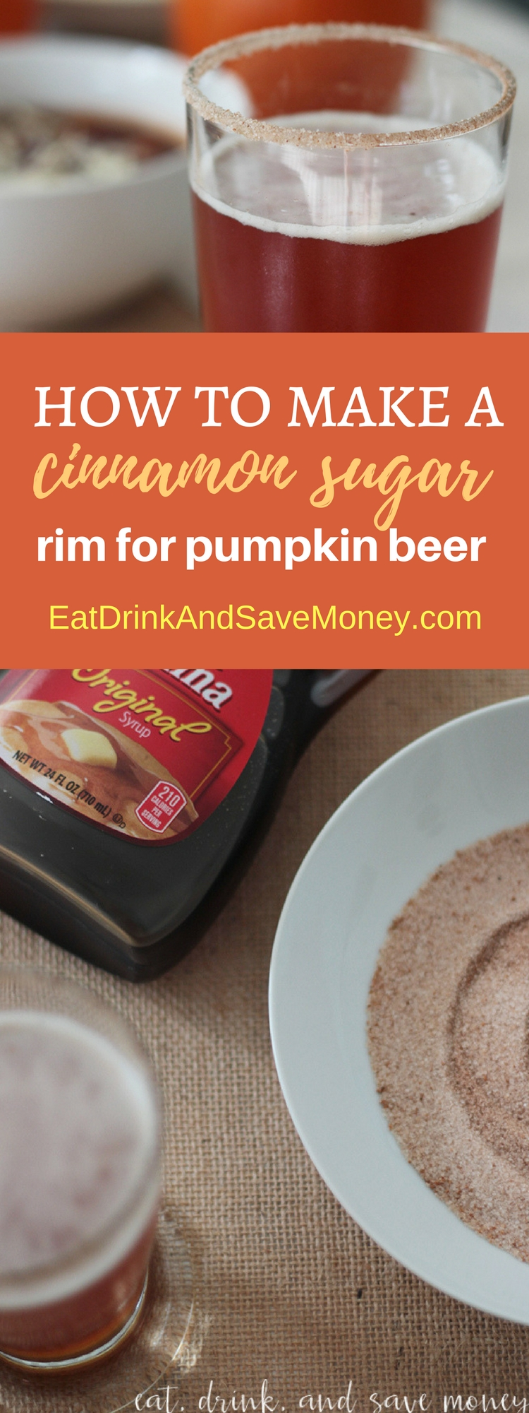 How to make a cinnamon sugar rim for pumpkin beer. Fall recipe. Fall drinks. Halloween drinks.
