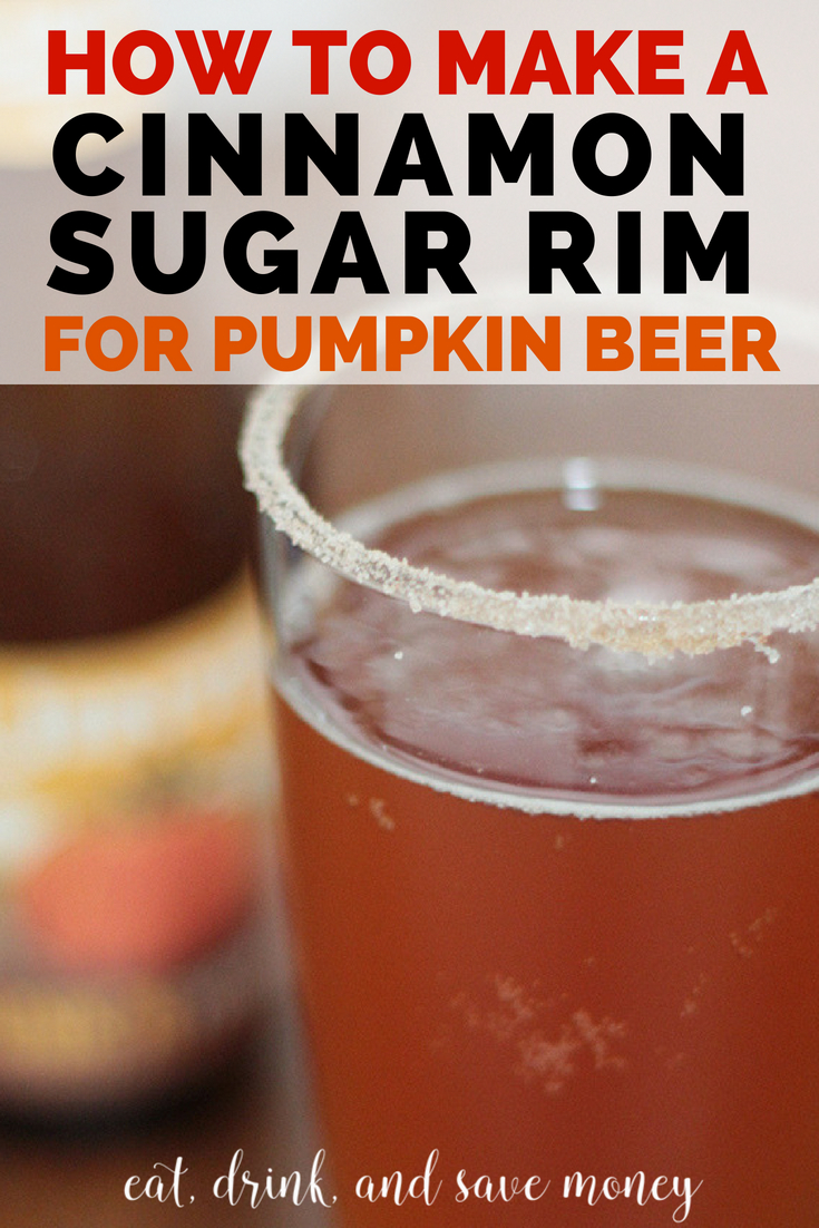 Love pumpkin beer and fall cocktails? You'll love this easy hack for making a cinnamon sugar rim for pumpkin beer. #pumpkin #pumpkinbeer #falldrinks #fallcocktail