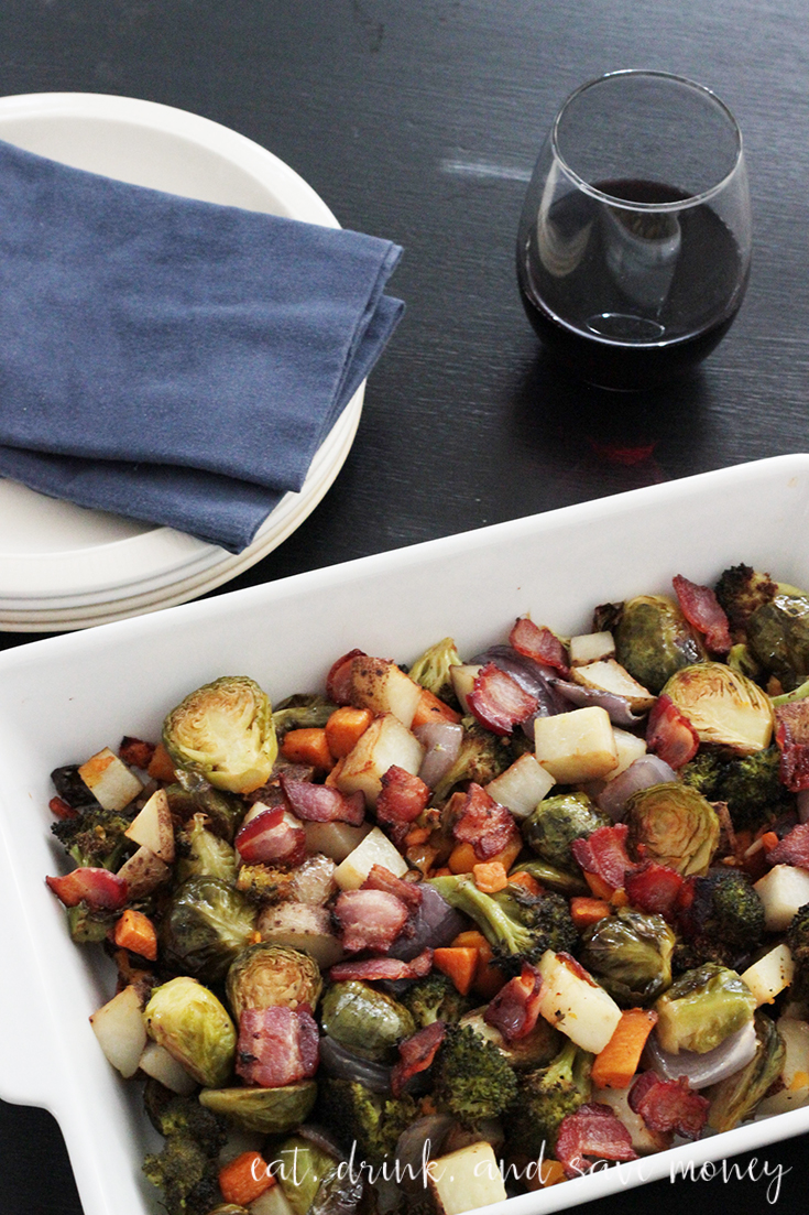 Recipe for easy fall roasted vegetables. Add bacon to this roasted vegetable dish and never feel the need to try another roasted vegetable recipe ever again. #roastedvegetables #veggies #vegetables
