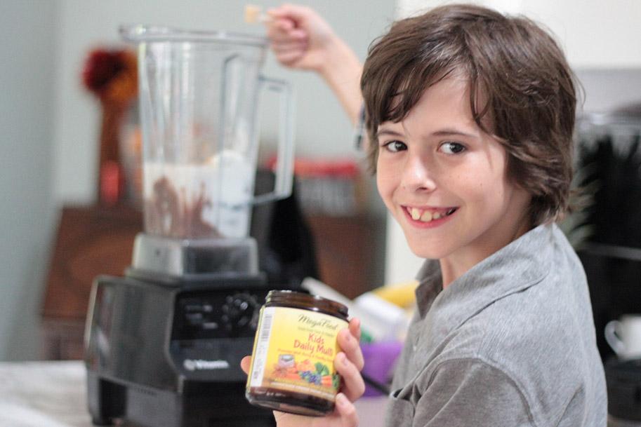 Charlie helps me make hot chocolate milkshakes