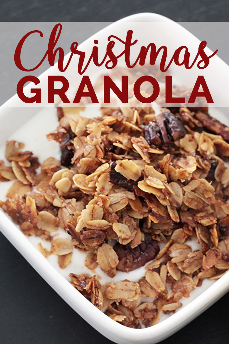 This Christmas granola recipe is sure to put you in the mood for the holidays. The cinnamon sugar smell is the best!